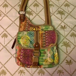 Fossil Canvas Organizer Crossbody Shoulder Bag
